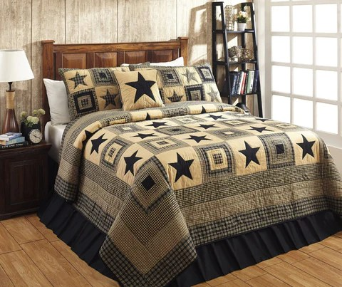 Colonial Star Black Bedding Primitive Star Quilt Shop