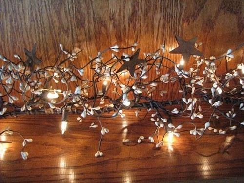 Lighted Cream Pip Berry And Star Garland 40 Primitive