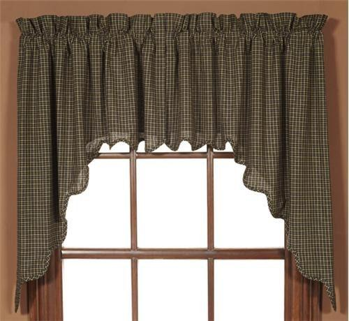 Kettle Grove Scalloped Lined Swag Curtains Primitive Star Quilt Shop