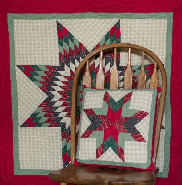 Christmas Lone Star Mini Quilt Table Topper Wall Hanging Retro Barn Country Linens
