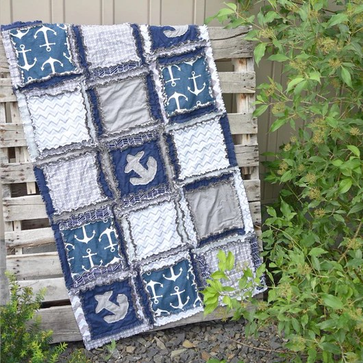 nautical crib bedding for baby boys nursery grey navy blue