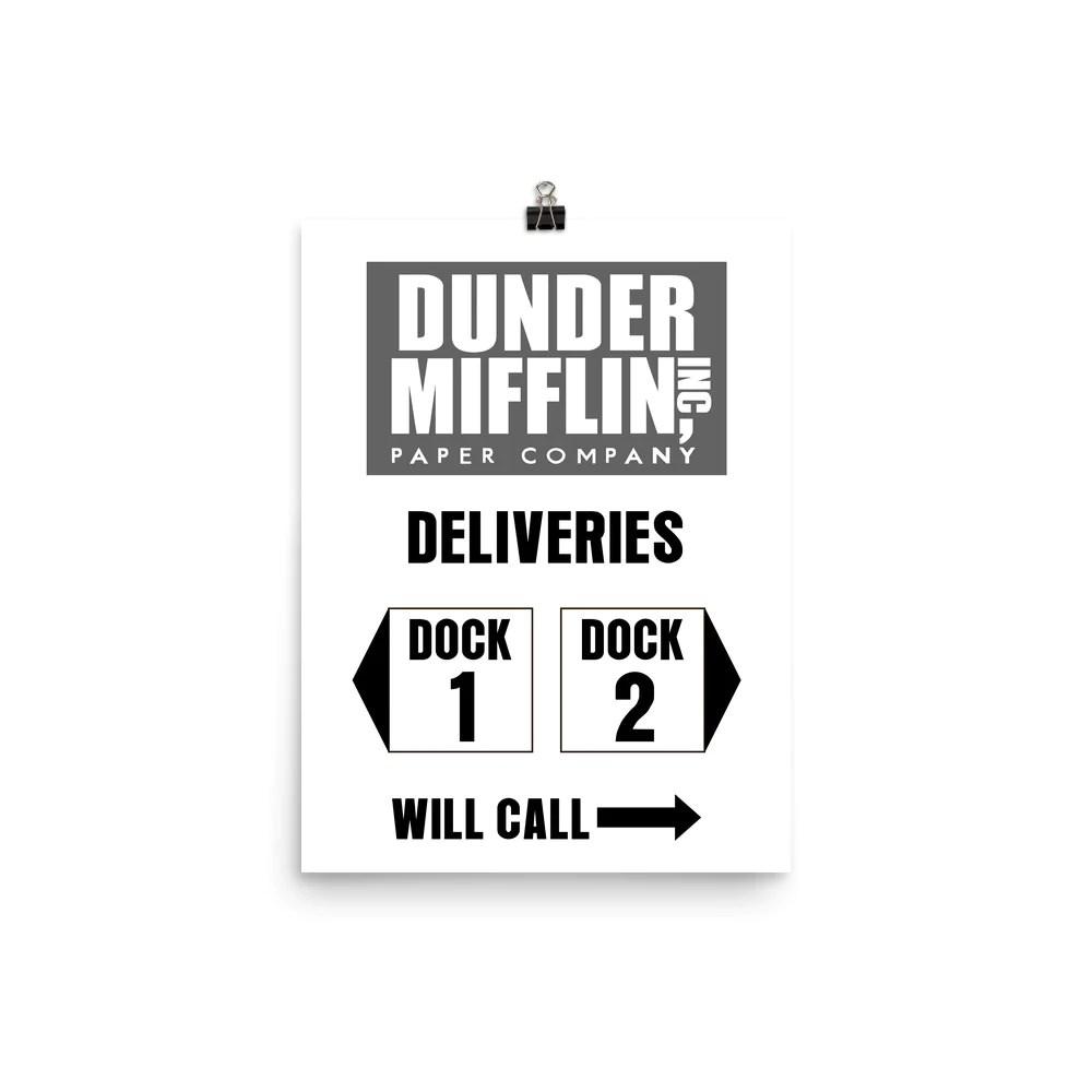 dunder mifflin delivery dock sign poster