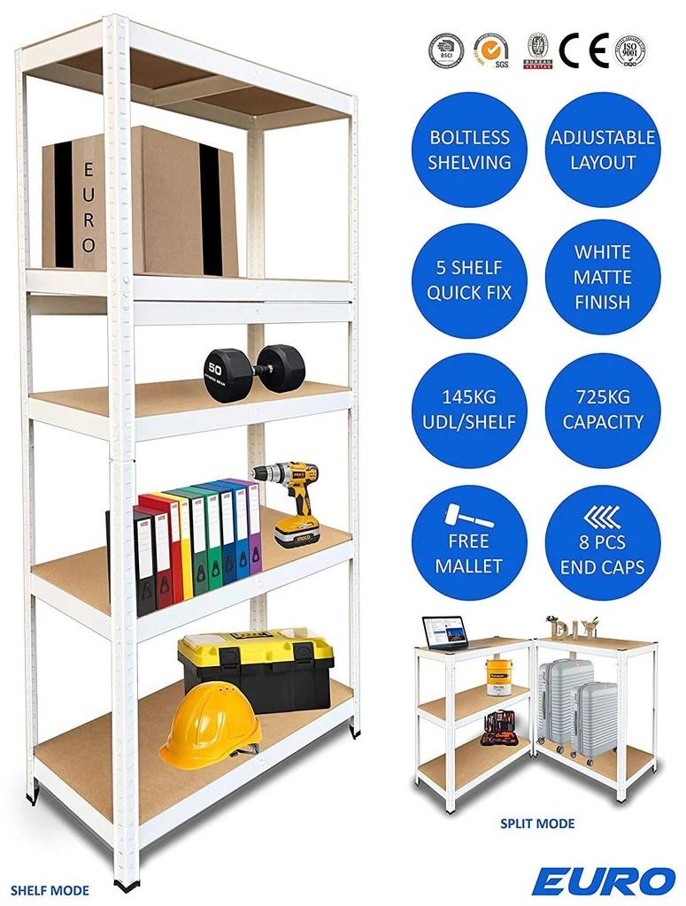 Euro Rack Boltless 5 Tier Home Office Garage Diy Storage Shelving Metal Racking Steel Mdf Boltless Shelves Fantastic White Finish Massive