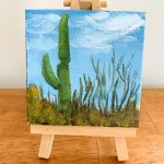 Saguaro Cactus Desert Landscape Acrylic Painting 3x3 Tiny Art April Bern Art Photography