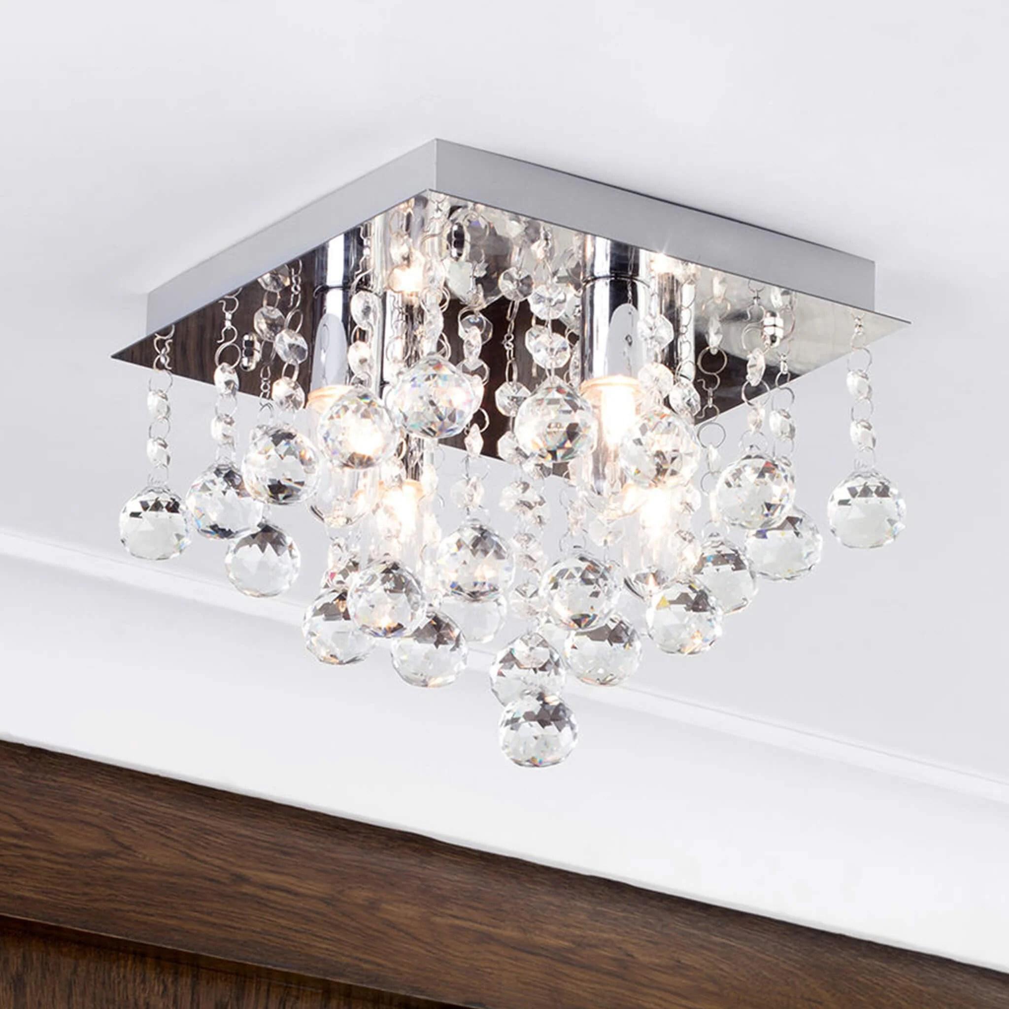 Orlando Crystal Bathroom Ceiling Light Ip44 Chrome Lampsy