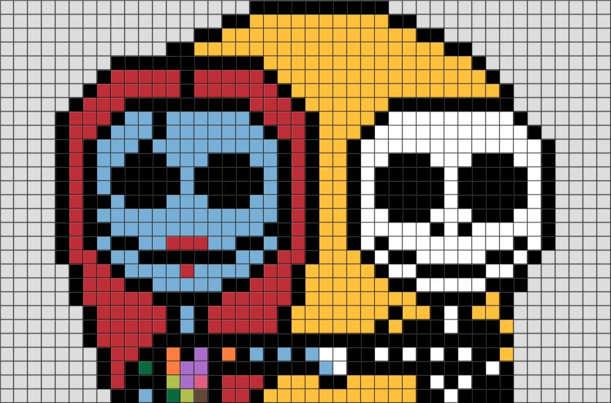 Jack And Sally Pixel Art BRIK