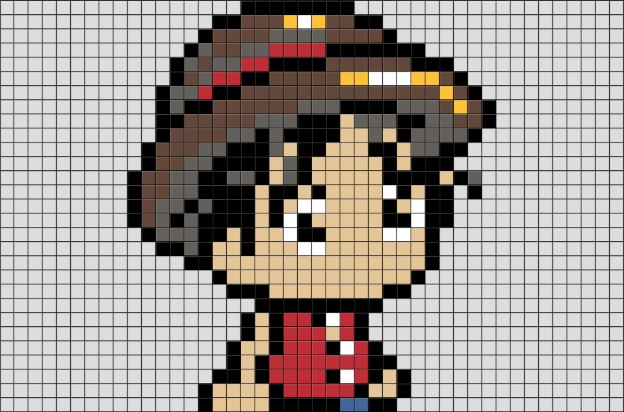 One Piece Luffy Pixel Art BRIK