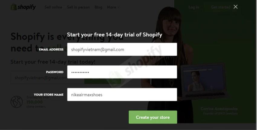 tạo website bán hàng trực tuyến với shopify