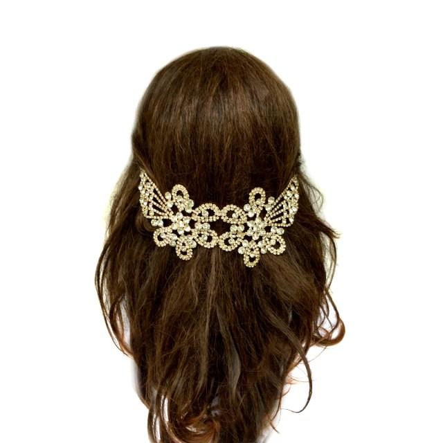 vintage hair jewelry wedding, silver hair chain wedding, vintage hair combs art deco