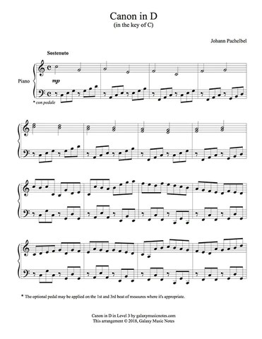 Canon in D | Easy piano solo sheet music | Pachelbel