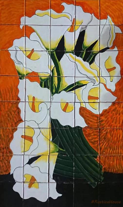 tile mural bouquet of calla lilies