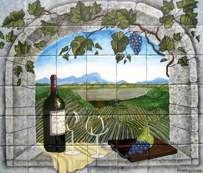 tile mural arched window