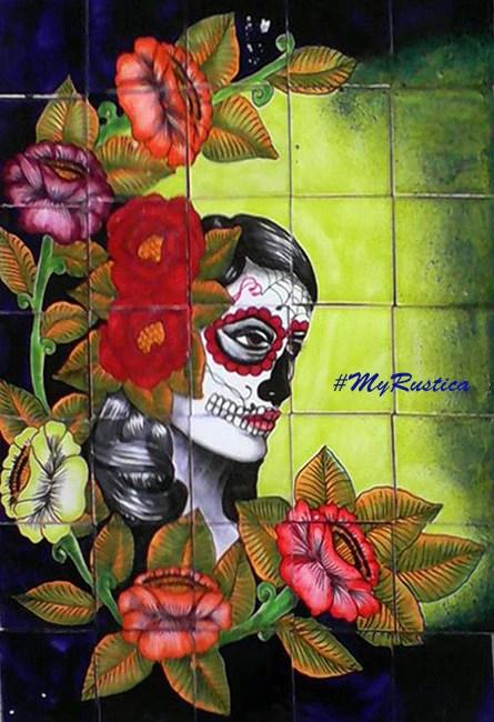 tile mural catrina face