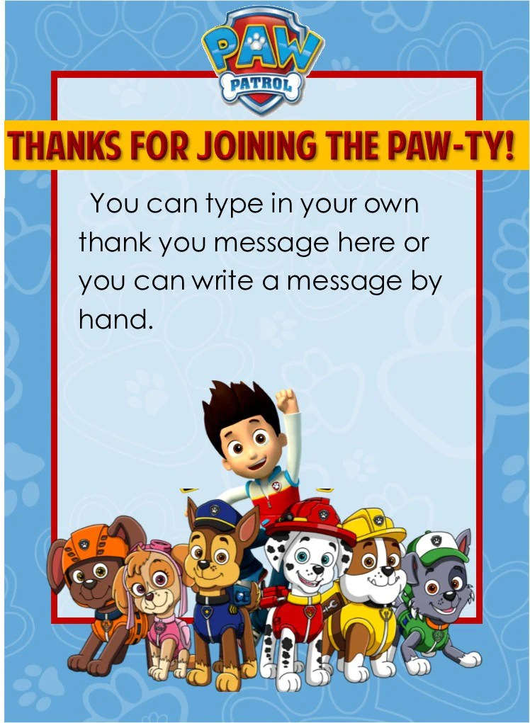 Paw Patrol Party Thank You Notes EDITABLE PartyGamesPlus