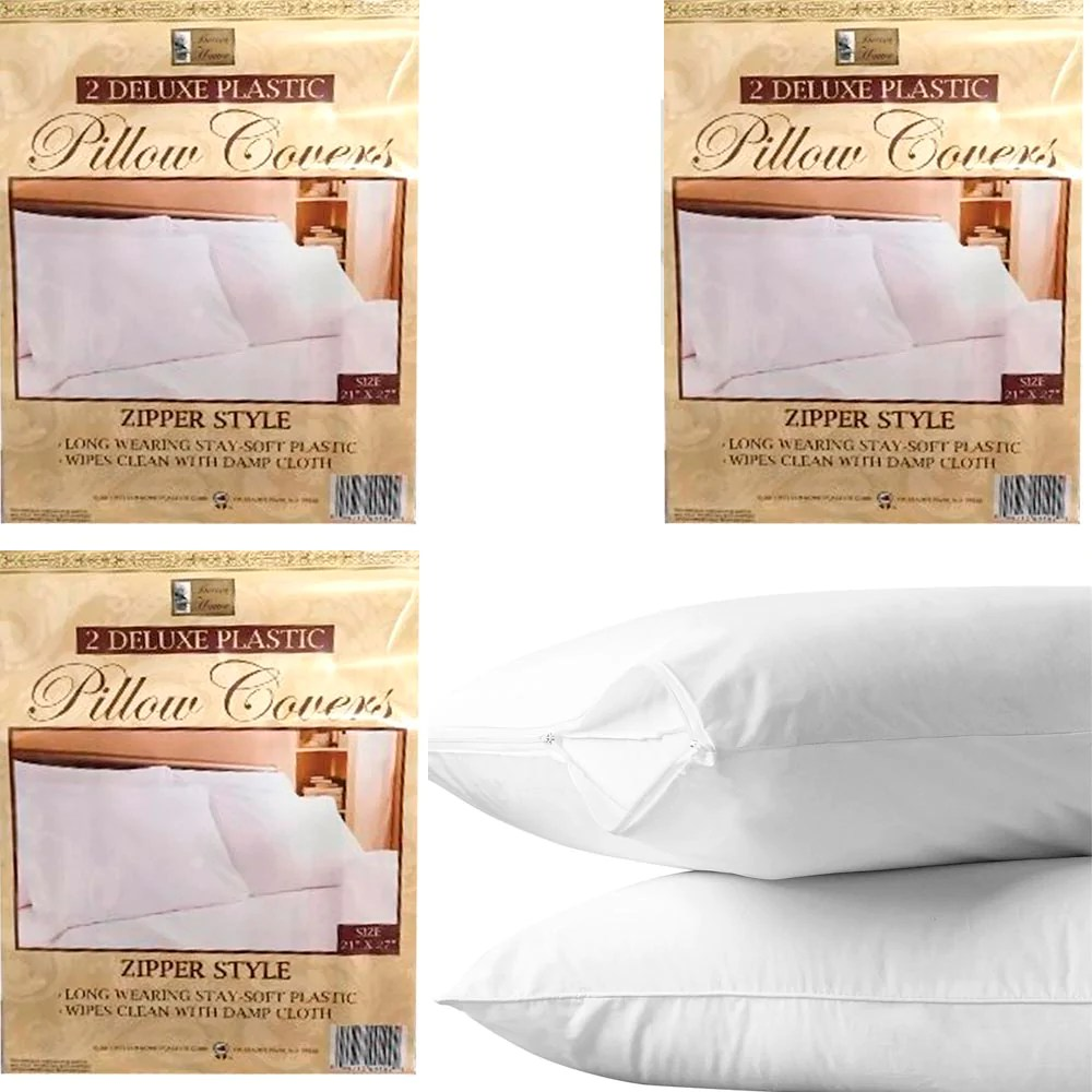 6 white hotel pillow plastic cover case waterproof zipper protector be alltopbargains