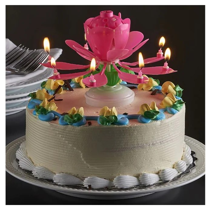 Home Garden Candles Spinning Candle Birthday Music Rotating Flower Cake Topper Party Dailystyles De