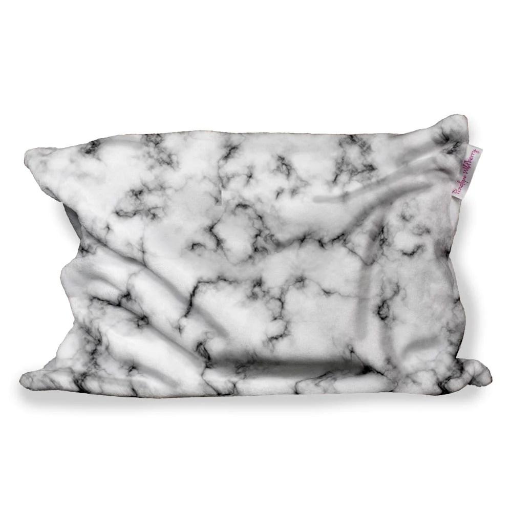 black marble fuzzy pillow