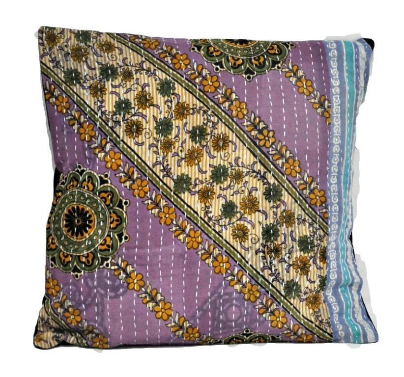cotton handmade pillow covers vintage sari kantha throw pillows ps21