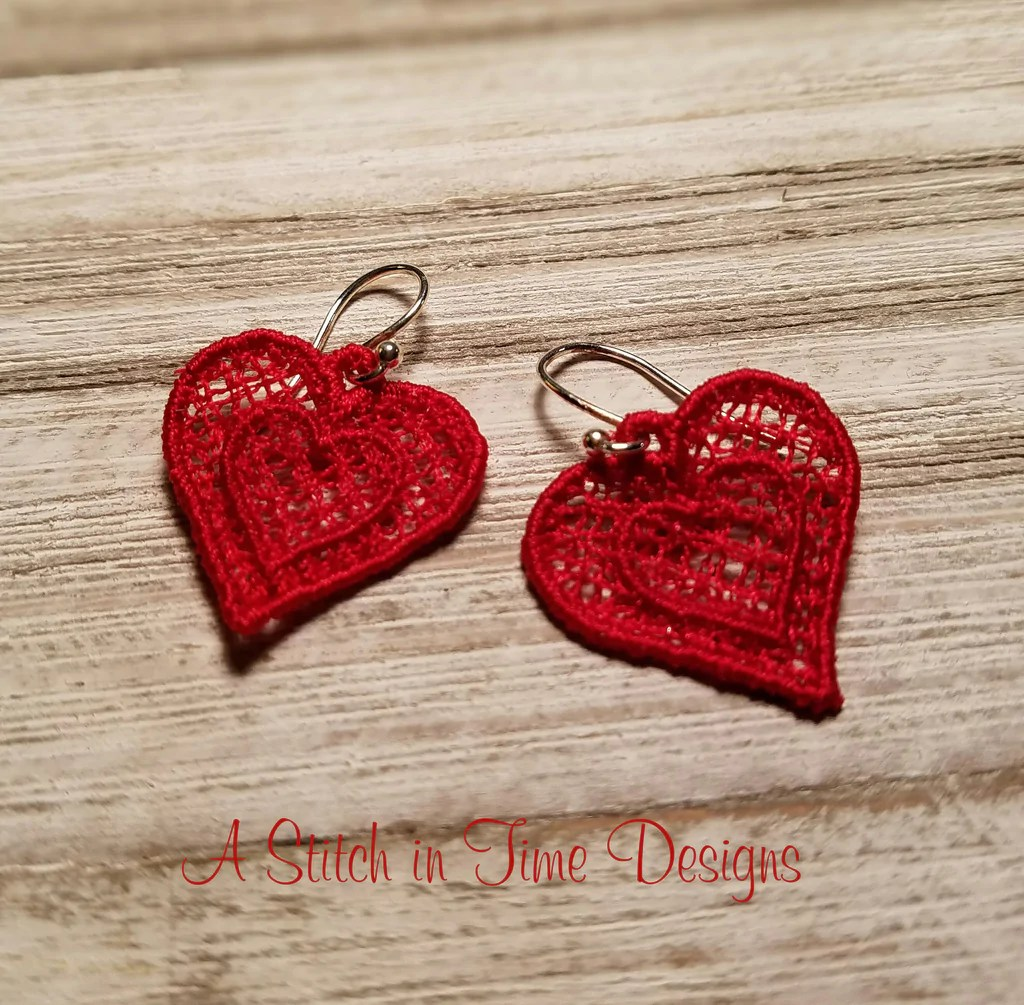 FSL Heart Earrings Or Charms A Stitch In Time Embroidery
