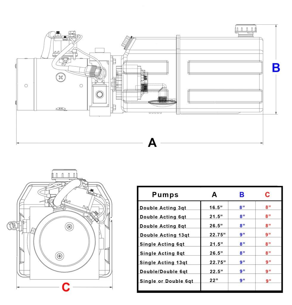 3 Quart 12v KTI Double Acting Hydraulic Pump