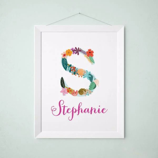 Personalized Baby Name Wall Art Vintage Floral Letters