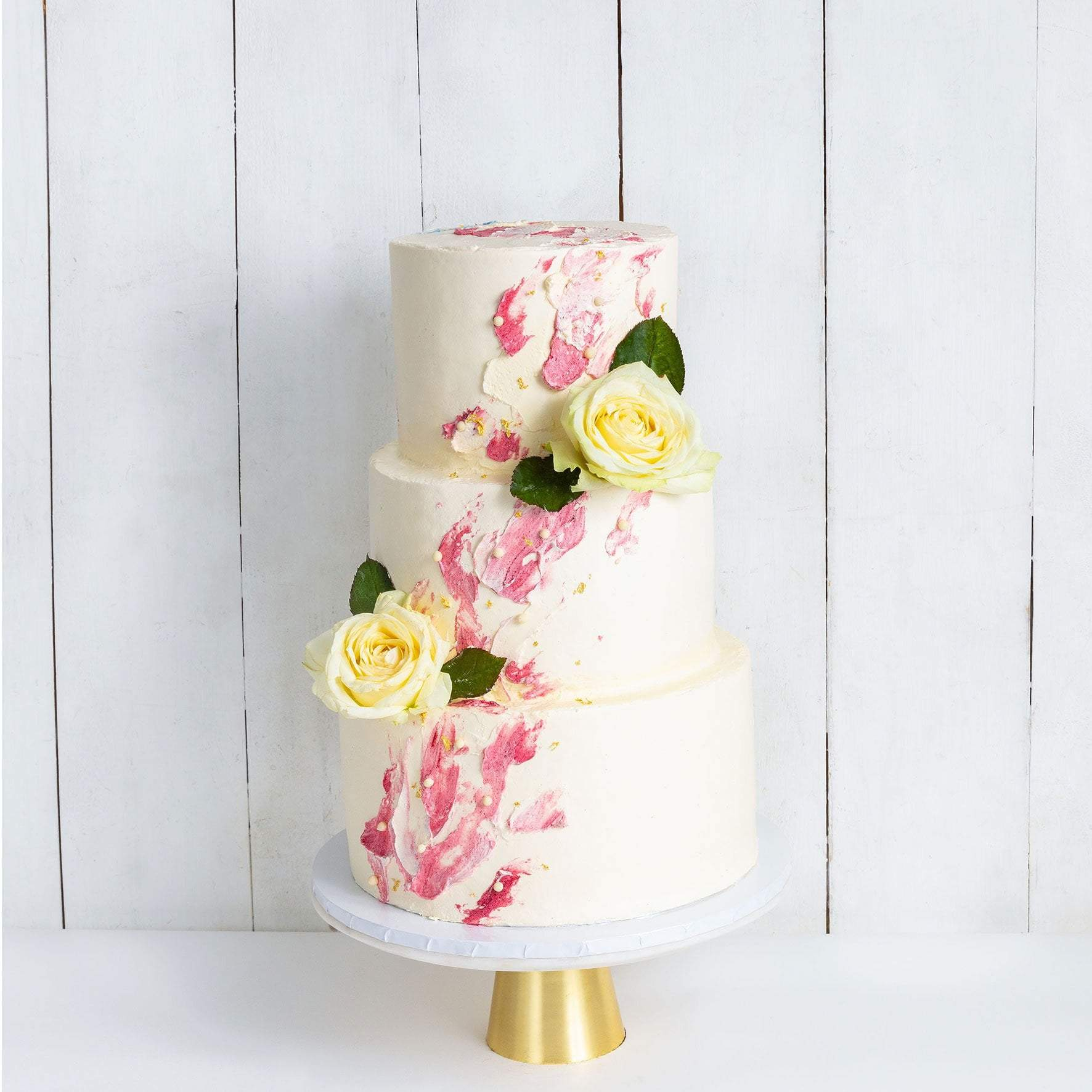 Three Tier Watercolour Rose Wedding Cake