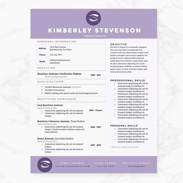 Purple Beautician Resume Cover Letter Amp References Template