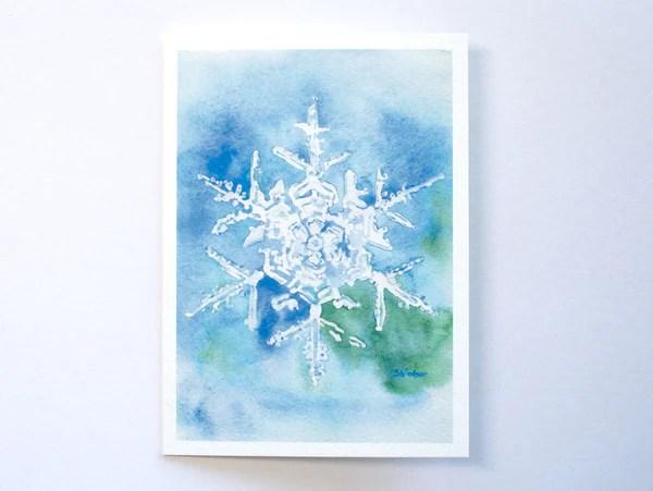 Snowflake Watercolor Painting Christmas Card Set Susan