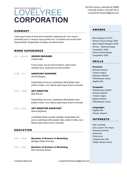 CLASSIC Soft Blue General Resume WITH COVER LETTER Lovelyrees Resumes Amp Writing Services