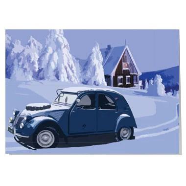 Citroen 2CV Christmas Card Artwords Design