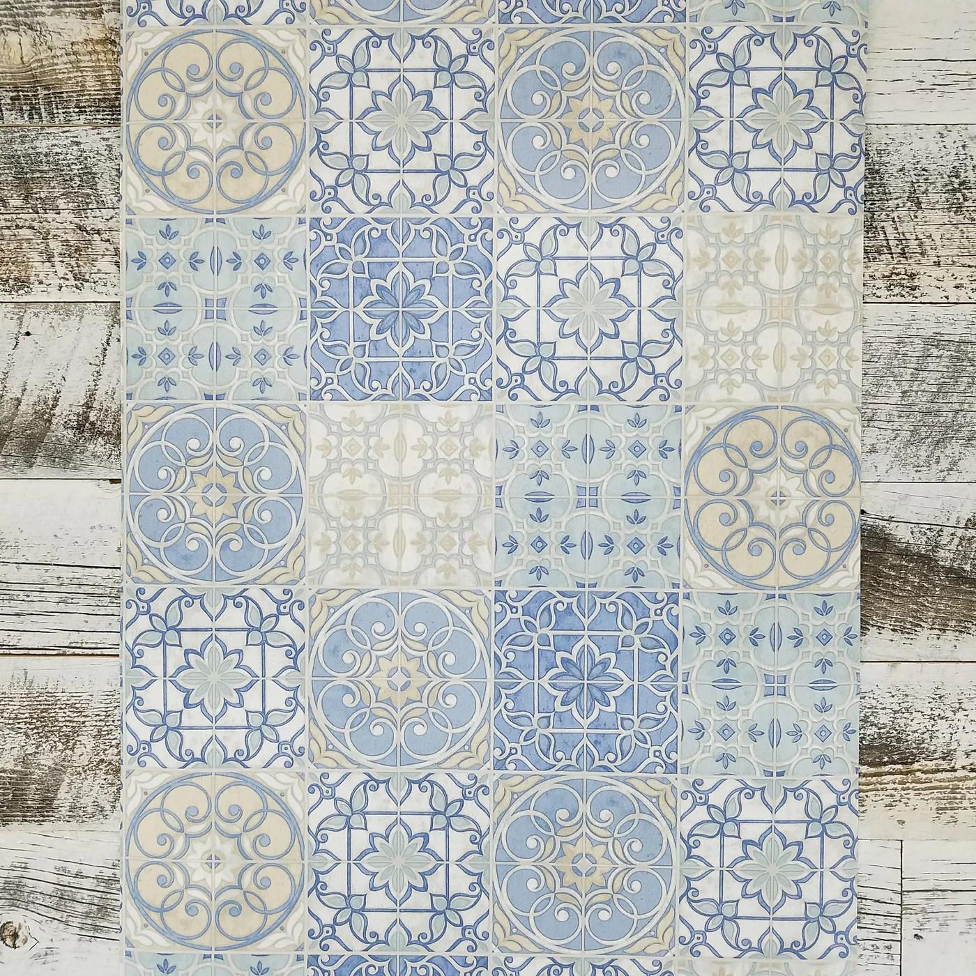 pretty mosaic tiles in blue wallpaper