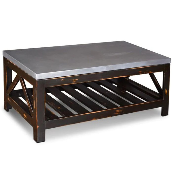 elements collection zinc top coffee table