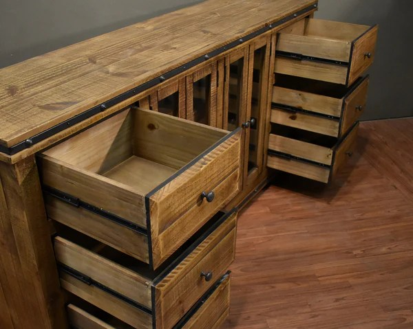 Rustic Reclaimed Solid Wood Console Table Sideboard Tv