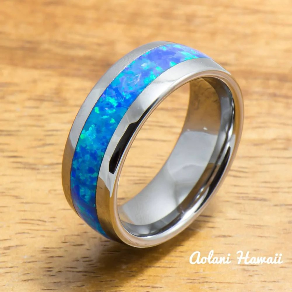Wedding Band Set Of Tungsten Rings With Opal Inlay 6mm