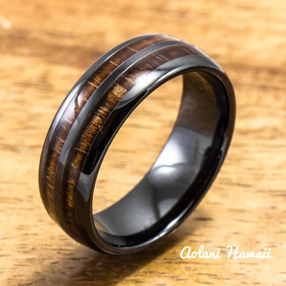 Ceramic Wedding Ring Set Ceramic Ring With Hawaiian Koa