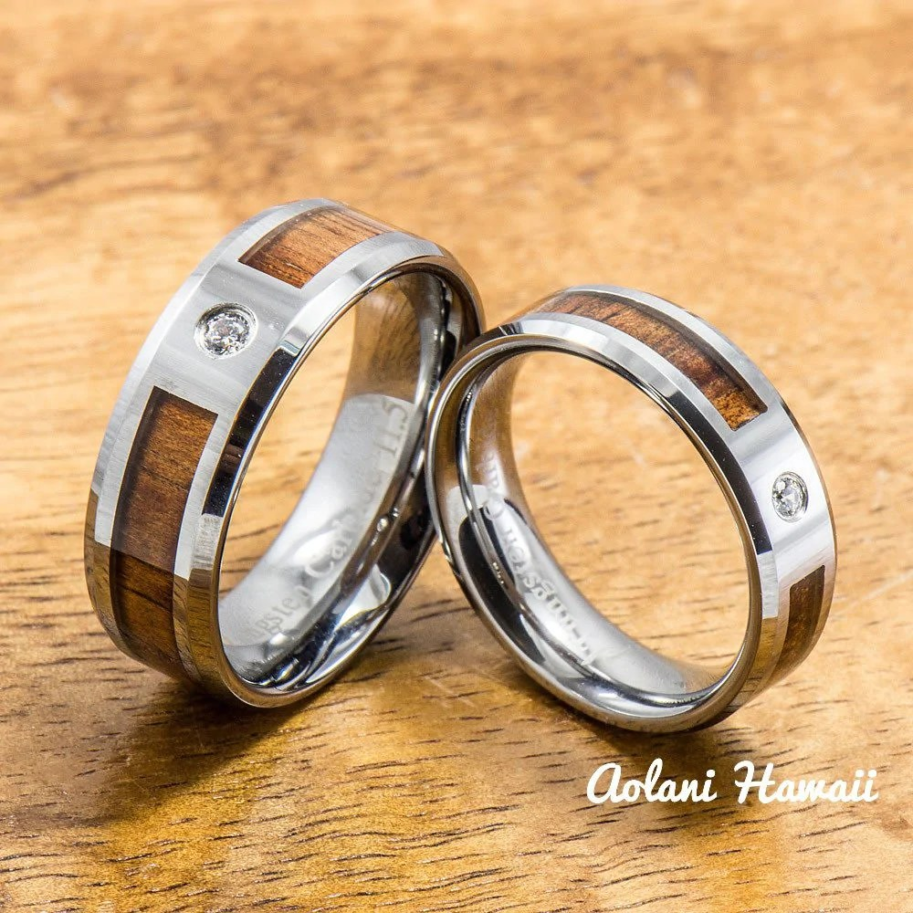 Tungsten Wedding Band Set Of Hawaiian Koa Wood Tungsten