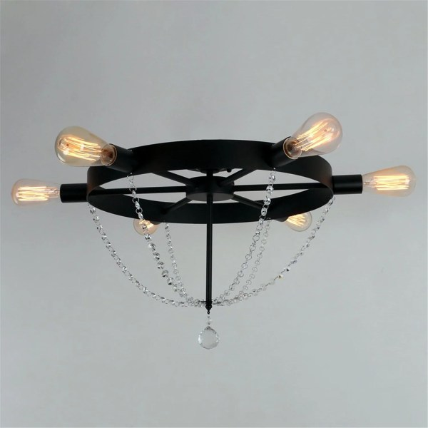 Unitary Brand Antique Black Metal Wheel Crystal Semi Flush Mount     Unitary Brand Antique Black Metal Wheel Crystal Semi Flush Mount Ceiling  Light with 6 E26 Bulb Sockets 240W Painted Finish