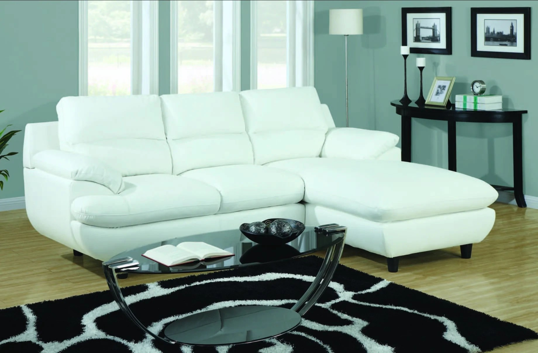 white bonded leather match sectional sofa sectionnel cuir reconstitue combo blanc