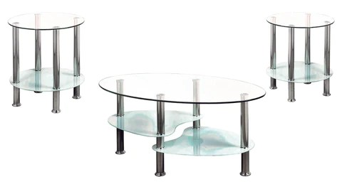 2605 white 3 glass coffee table with 2 side tables