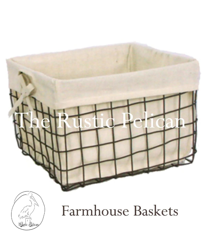 Rustic Farmhouse Wire Baskets Bathroom Storage The Rustic Pelican