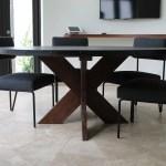 Modern Round Metal Top X Base Dining Table Mortise Tenon