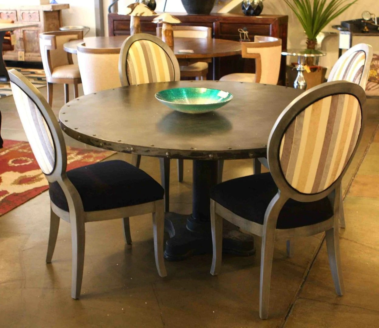 Industrial Modern Dining Table And Queen Ann Chairs Mortise Tenon