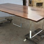 Live Edge Walnut And Lucite Dining Table Mortise Tenon