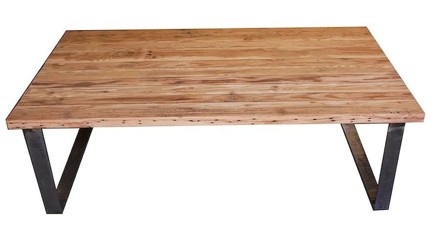 industrial modern metal and reclamed wood coffee table