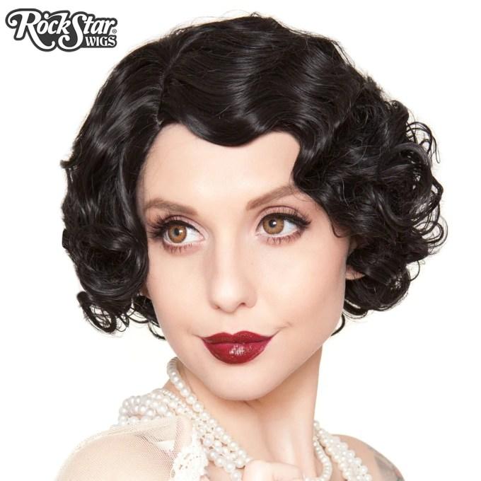 rockstar wigs®- 1920's flapper finger waves - black (00837)