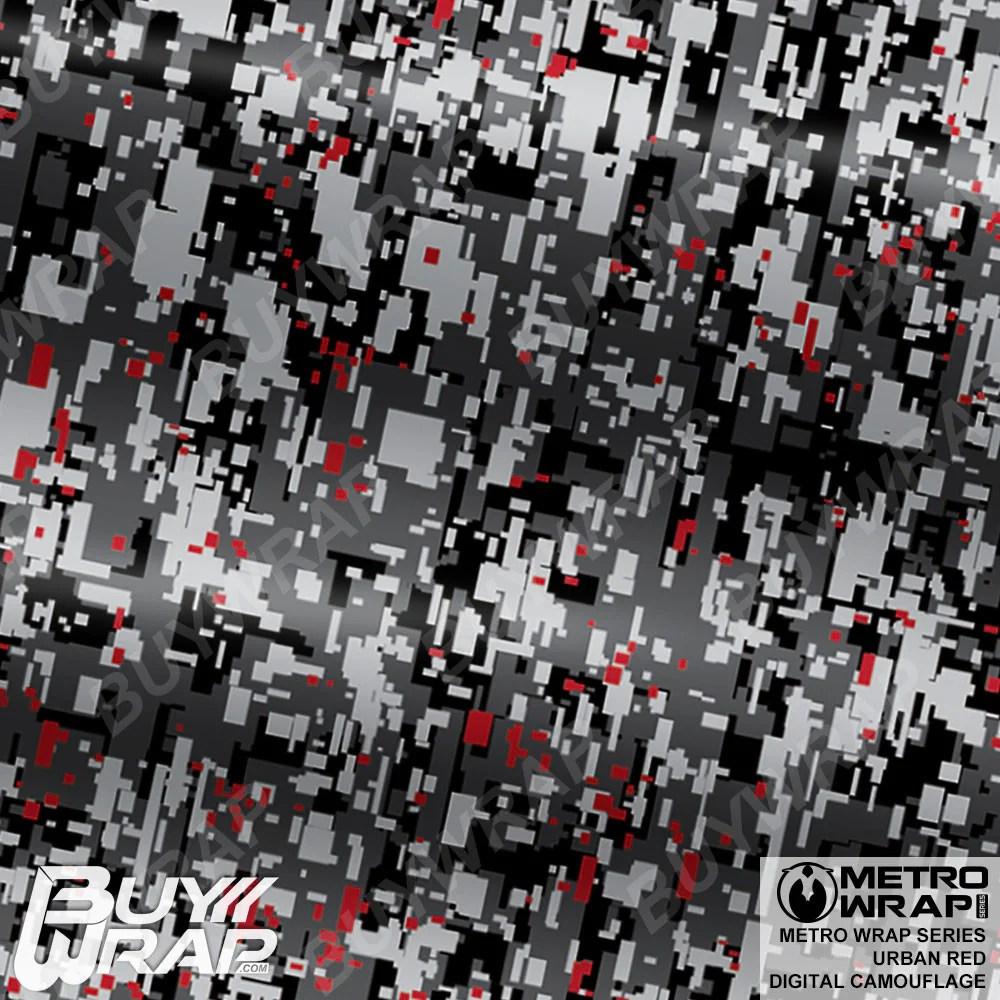 Red Urban Digital Camo Vinyl Wrap