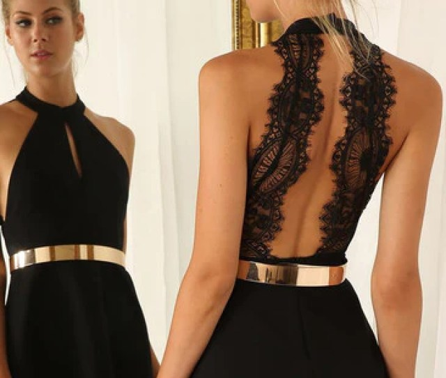 Black Party Dress Withy Lace Back