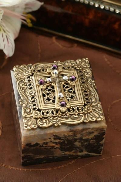 Swarovski Crystal Cross Square Stone Box Celebrate Faith