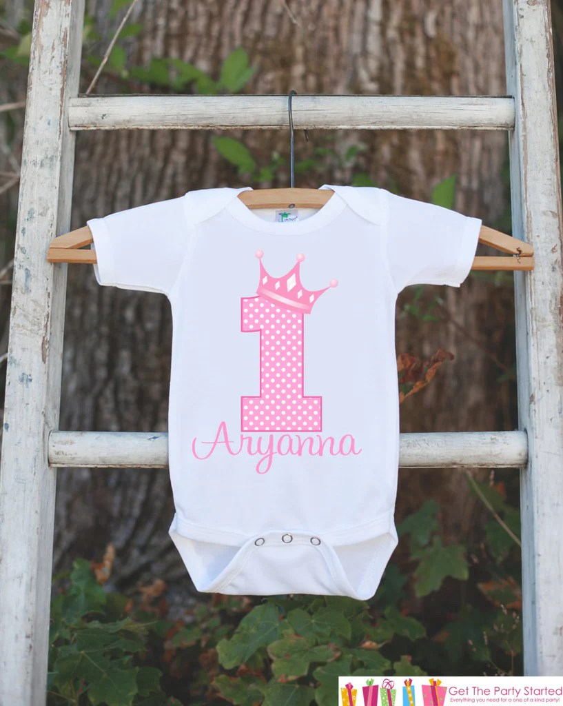 First Birthday Princess Outfit Personalized Princess Bodysuit For Gi Get The Party Started
