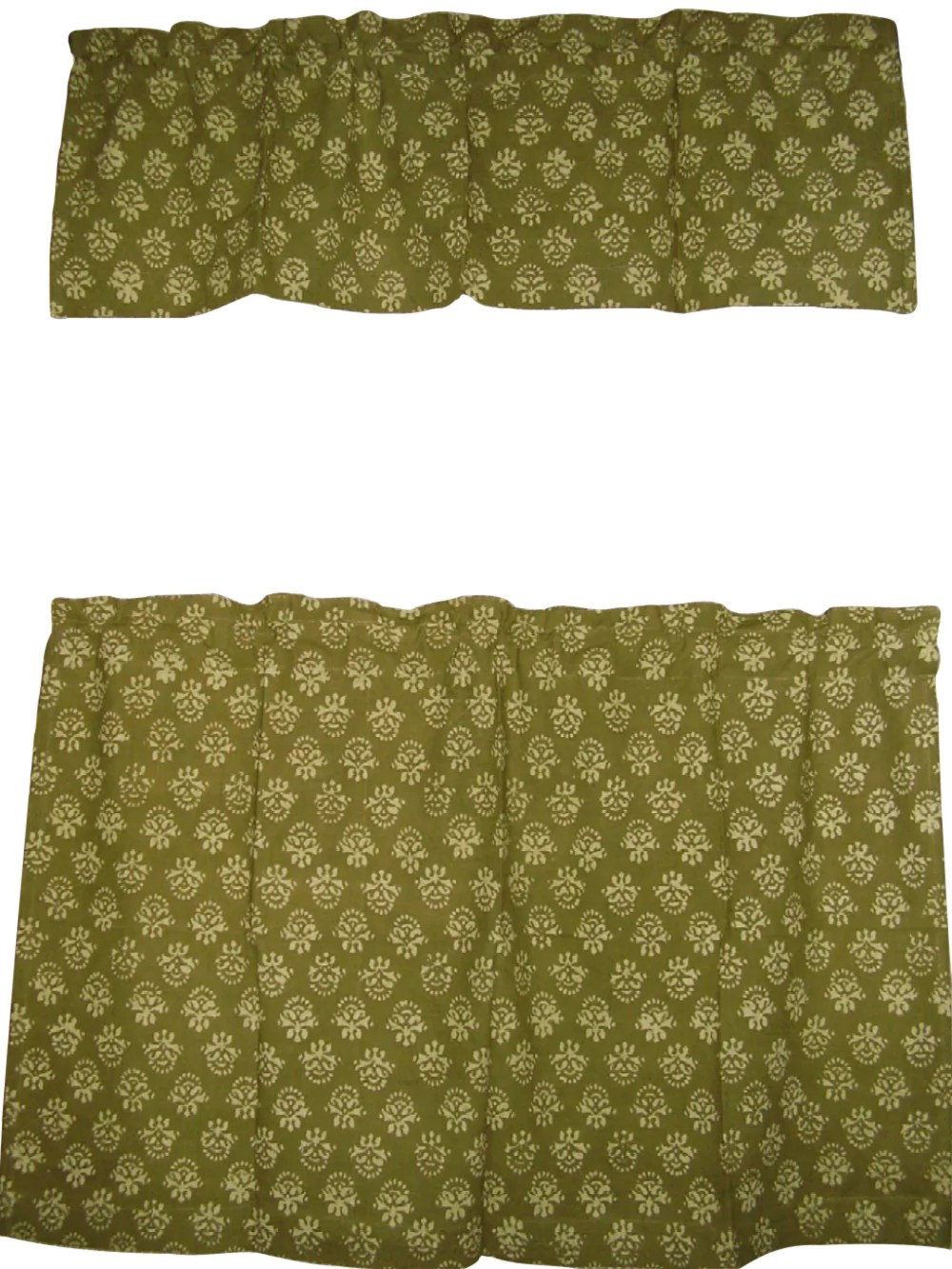 cafe curtain with valance block print cotton 44 x 30 olive green